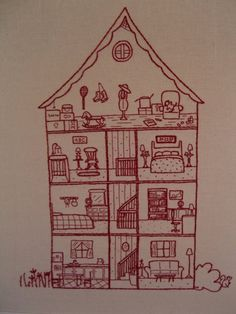 """This is the """"interactive"""" version of a large, highly detailed embroidery pattern for a cross-section of a house. The finished image measures approximately 7.25"""" x 12"""". The original embroidery was part of The Quilt Project, a redwork quilt installation that was displayed in Melbourne and is permanently on display online at http://thequiltproject.blogspot.com/"""
