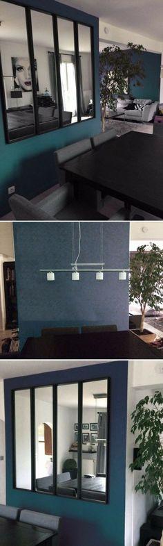 """Une """"fausse"""" verrière IKEA avec des miroirs NISSEDAL http://www.homelisty.com/verriere-interieure/"""