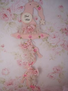 """Fantastically pretty """"Good Witch"""" pink shabby chic witch hat and shoes sign."""