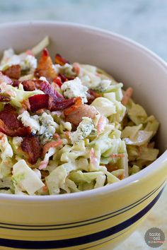 Coleslaw doesn't have to be boring, and this Bacon Blue Cheese Coleslaw proves that! Cabbage, bacon and blue cheese bring this coleslaw to a new level.: