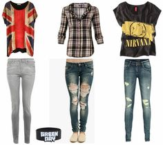 I love these because I love British flags so the oldie-tint color to it lovely. The the plaid because, ask anyone, I'm obsessed with plaid, the jeans that go with the plaid are so cool! And lastly, the last outfit, the shirt is perfect with the jeans! Wear that Green Day bracelet with any of these outfits and you're ready to go!