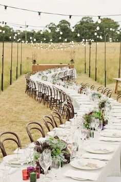 One long table for guests- straight or wave-y - or do a few curved tables next to each other to create and different effect