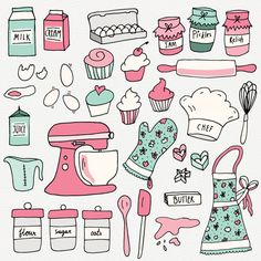 CLIP ART: Baking Set // Photoshop Brushes // Hand Drawn Elements // Kitchen Culinary Food Baker Conf Source by aniaminda - Kawaii Drawings, Easy Drawings, Recipe Book Design, Diy Recipe Book, Cake Clipart, Sketch Note, Buch Design, Kitchen Art, Kitchen Black
