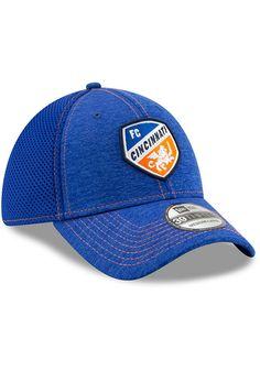 brand new 90c5f 50d7f New Era FC Cincinnati Mens Blue Classic Shade Neo 39THIRTY Flex Hat, Blue,  POLYESTER, Size L XL