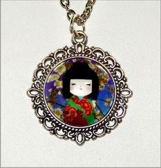 Kokeshi doll glass cabochon pendant from F'Moush