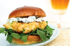 Crab Burgers with Dill Chèvre & Arugula