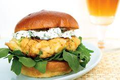 Crab Burgers with Dill Chèvre & Arugula