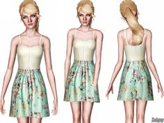 Crochet and Floral Twofer dress by Zodapop - Sims 3 Downloads CC Caboodle