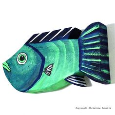 Reclaimed Wood Fish Art Painted Green and Blue by TaylorArts