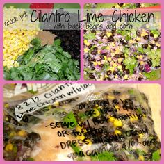 Cilantro Lime Chicken - crock pot freezer meal.  There's a couple of other crockpot meals on here too