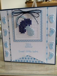 Mini Cross Stitch, Cross Stitch Heart, Cross Stitch Cards, New Born Baby Card, Baby Born, Cross Stitch Designs, Cross Stitch Patterns, Diy Paper, Paper Crafts