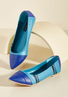 The Wax of Life Flat in Cerulean - Blue, Novelty Print, Work, Casual, Quirky, Colorblocking, Nifty Nerd, Spring, Summer, Winter, Flat, Better, Exclusives, Variation, Blue, Saturated