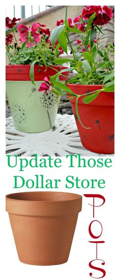 Updating clay pots with stencil and paint