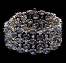 62.40ctw Blue Sapphire and Diamond Bracelet - 14KT White Gold   /  $7,000