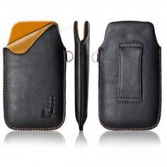 PU Leder Etui black orange f. Samsung Galaxy Young GT-S6310N