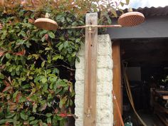 solid copper hand made outdoor shower, just add garden hose.