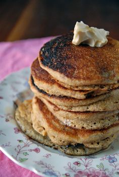 Vegan Cornmeal Griddle Cakes (Pancakes)- Tried and True! I substitute 1 mashed banana for the egg and use whatever flours I have on hand (food process rolled oats for oat flour; sub more whole wheat/white flour for Buckwheat).