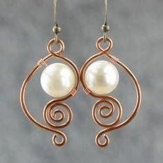 Online Shop White pearl earrings female brass handmade earring fashion unique diy copper wire handmade jewelry Aliexpress Mobile