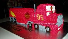 Homemade Mack the Truck Birthday Cake: I made this Mack the Truck Birthday Cake for my son's 3rd birthday. I used some of the ideas from the cakes previously posted here. I baked two 9 x 13