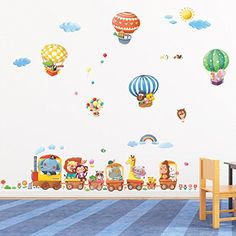 Decowall Animal Train and Hot Air Balloons Kids Wall Decals Wall Stickers Peel and Stick Removable Wall Stickers for Kids Nursery Bedroom Living Room * Check out this terrific product. (This is an affiliate link). Wall Decals Uk, Wall Stickers Uk, Wall Sticker Design, Nursery Wall Stickers, Removable Wall Stickers, Train Nursery, Baby Nursery Decor, Nursery Design, Kids Living Rooms