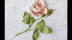 Вышивка лентами розы (стебель, листья, бутон) Embroidery ribbons rose (stem, leaf, Bud) - YouTube