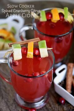 This Slow Cooker Spiced Cranberry Citrus Apple Cider is the beverage of choice this season! Perfect for parties and the holidays!