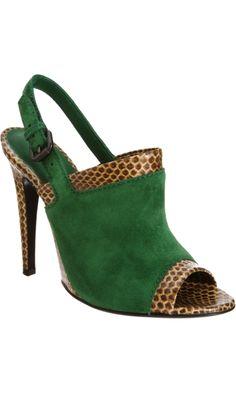 Bottega Veneta snakeskin trim green peep toe sandal