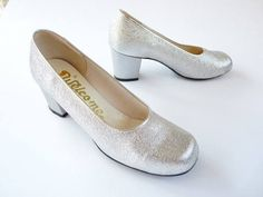 Silver Lurex vintage shoes pumps 60s Welcome by Olivers Paris chaussures nr 4 - 37 sparkling in Yves Saint Laurent Style by vintageinfashion on Etsy