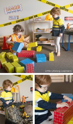 preschool classroom set up Set up an inviting construction site dramatic play area for your little learners! Find inspiration for small worlds, block play, early writing and m Preschool Classroom Setup, Toddler Classroom, Dramatic Play Area, Dramatic Play Centers, Play Based Learning, Learning Through Play, Decoration Creche, Early Years Classroom, Block Play