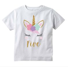Girl Unicorn 5th Birthday Shirt - This shirt is the perfect for your little ones birthday or to give as a gift! We at Bump and Beyond Designs love to help you celebrate lifes precious moments! Sizing options: 4T - 5/6T Care Instructions: Wash inside out in warm water, gentle
