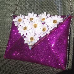 648a1e5d8b3f2 Hot Pink Glitter Daisy - Led Light Up Purse Clutch