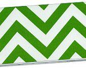 Checkbook Cover - I love the green and white chevron pattern!