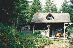 """phoebe-bird: """" A cabin we stayed in on Hornby Island, BC. """" Need to live here. Tiny Cabins, Cabins And Cottages, Cottage Farmhouse, Cozy Cottage, Cozy Cabin, Little Cabin, Little Houses, Cabins In The Woods, House In The Woods"""