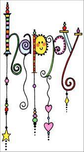 Happy Inspiration - Art World Hand Lettering Alphabet, Doodle Lettering, Creative Lettering, Doodles, Zentangle Patterns, Zentangles, Chalkboard Art, Doodle Art, Word Art