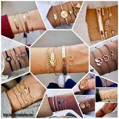 Bohemian Bracelets, Colorful Bracelets, Beaded Bracelets, Gold Bangles, Sterling Silver Bracelets, Bracelet Set, Bracelet Making, Stackable Bracelets, Love Charms