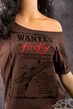 FIREFLY Off The Shoulder Slouchy Top. For Sexy Browncoat Fans of the Firefly fandom. Wild West Wanted Poster Shirt. Firefly Serenity.