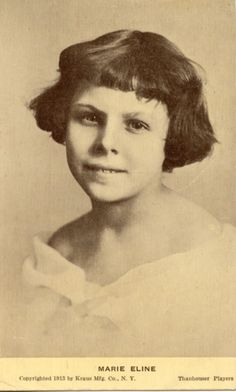 Marie Eline was an American silent film child actress and sister of Grace Eline. Nicknamed The Thanhouser Kid she began acting for the Thanhouser Company in New Rochell, New York at the age of 8 and starred in exactly 100 films between 1910 and 1914