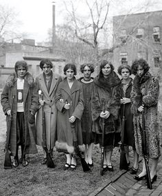 """c. 1925. """"Girls rifle team of Drexel Institute."""""""