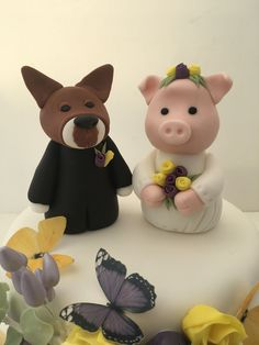 Pig bride and Dog Groom hand modelled cake toppers for a wedding cake Marie's Bakehouse Manchester #weddingcaketoppers #weddingtoppers #custommadeweddingtoppers Wedding Cake Toppers, Wedding Cakes, Cookie Gifts, Dog Grooming, Manchester, Cake Decorating, Bride, Party, Wedding Gown Cakes