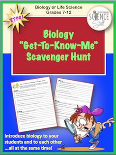 Biology or Life Science Scavenger Hunt (Back to School)