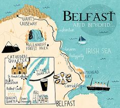Adorable illustrated map of the Belfast area.