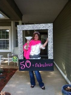A 50 + fabulous photo prop for a 50th birthday party.  See more planning a 50th birthday party ideas at www.one-stop-party-ideas.com