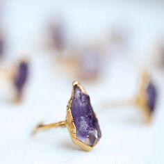 Raw natural amethyst rings #amethyst #gold #ringcrush Ringcrush