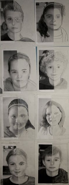 These self-portrait drawings by graders were on display at the elementary school at the end of the school year, a nice tribute to the Middle School Art, Art School, Drawing Lessons, Art Lessons, Self Portrait Drawing, Portrait Paintings, 6th Grade Art, Drawing For Kids, Children Drawing