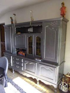 buffet vaisselier peint patine plateau couleur meubles patin s pinterest buffet. Black Bedroom Furniture Sets. Home Design Ideas
