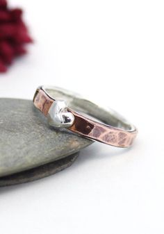 Copper Band Little Heart Ring Statement Ring Heart by rosajuri