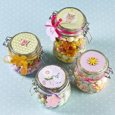 Decorate kilner jars and fill with traditional sweets or chocolates.