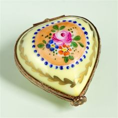 Limoges Yellow mini Heart with Flowers  The Cottage Shop