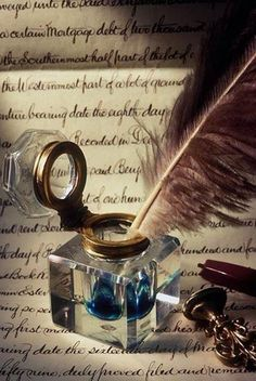 inkwell with quill pen. Quill And Ink, Old Letters, Handwritten Letters, Pen And Paper, Letter Writing, Writing Instruments, Writing Inspiration, Quilling, Hand Lettering