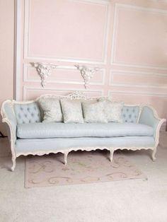 French, Shabby Chic, Sofa, Blue